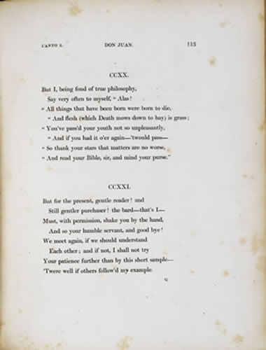 a literary analysis of don juan by lord byron Don juan: don juan  he was first given literary personality in the tragic  but the character reappears with a new force in lord byron's long satiric poem don .